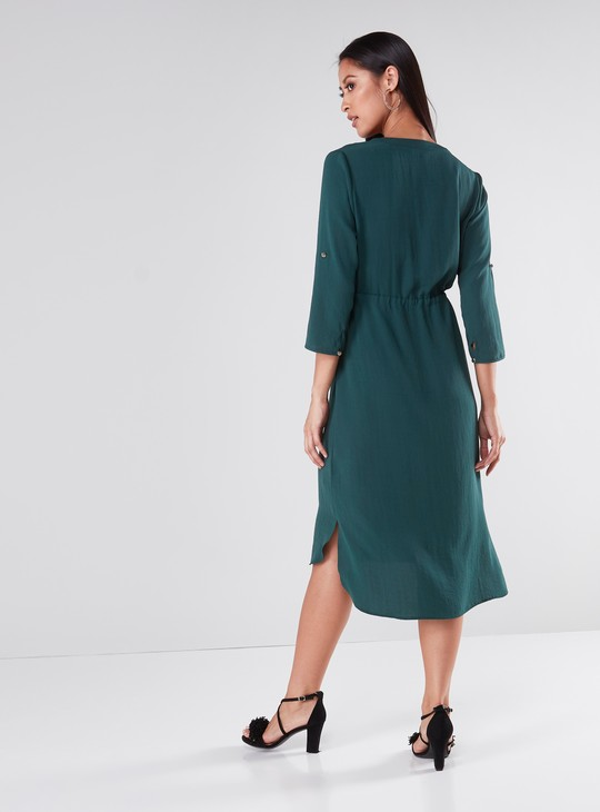 Solid Midi A-Line Dress with 3/4 Slevees