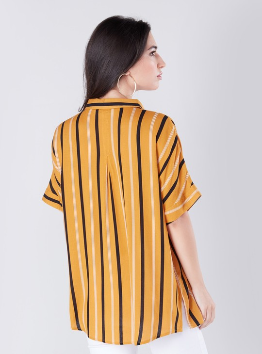 Striped Casual Shirt with Extended Sleeves