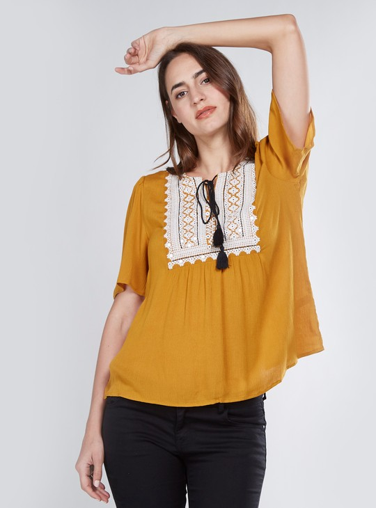 Embroidered Top with Flared Short Sleeves and Tie Ups