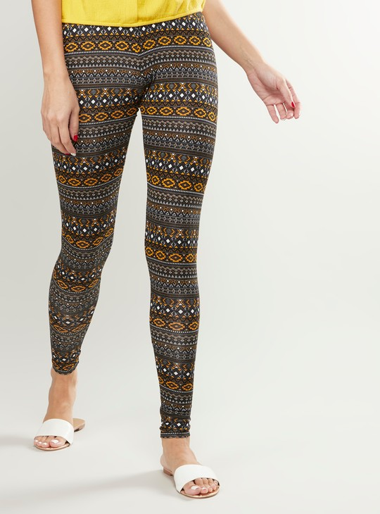 Printed Leggings with Elasticised Waistband