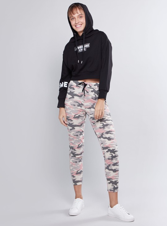 Printed Sweat Top with Long Sleeves and Hood