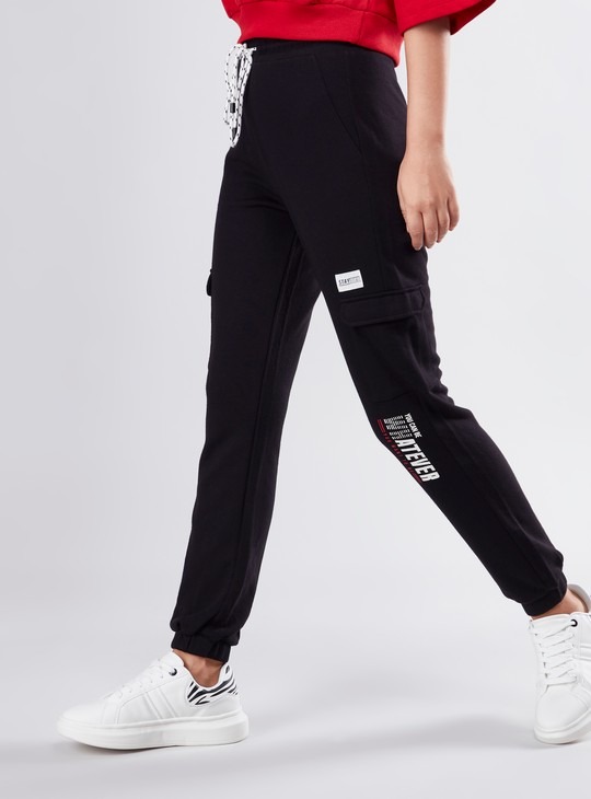 Full Length Printed Joggers with Cuffed Hem and Drawstring Closure