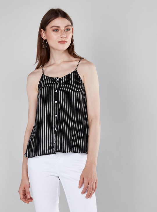 Striped Spaghetti Top with Button Closure