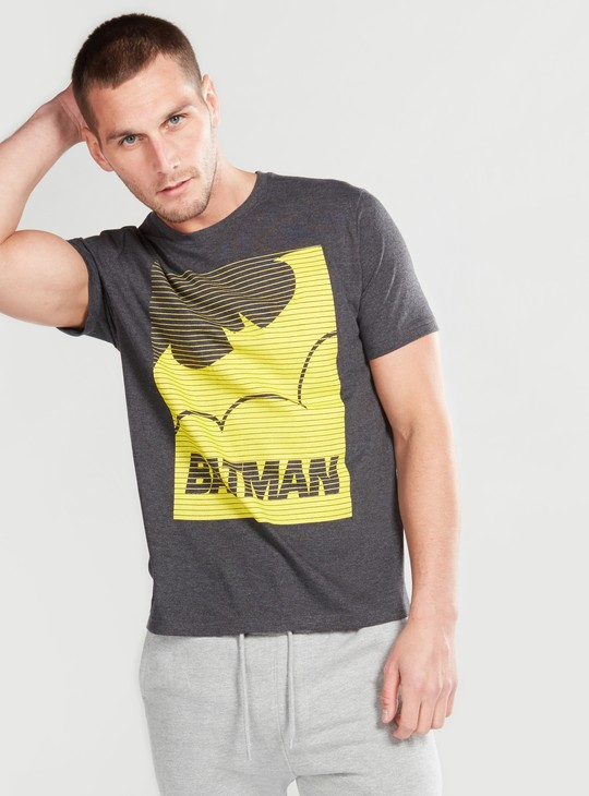 Batman Printed Round Neck T-Shirt with Short Sleeves