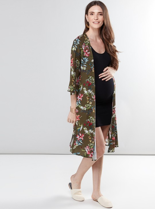 Maternity Printed Open Front Shrug with Tie-Ups
