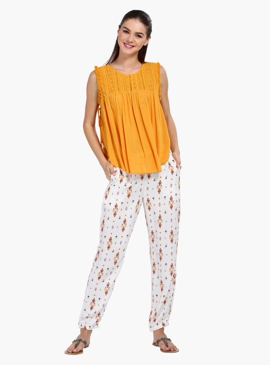 Printed Straight Fit Harem Pants with Tassels