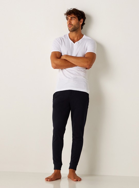 Set of 3 - Plain Vest with V-neck and Short Sleeves