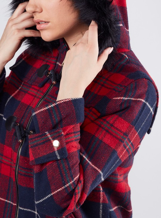 Checked Parka Coat with Long Sleeves and Hood