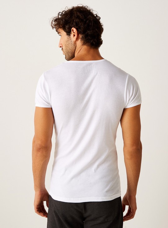 Set of 2 - Plain Round Neck Vest with Short Sleeves