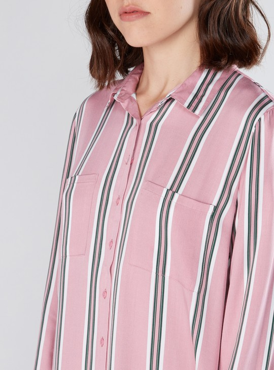 Striped Tunic Shirt with Long Sleeves and Pocket Detail