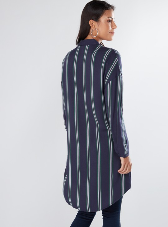 Striped Shirt Tunic with Long Sleeves and Complete Placket