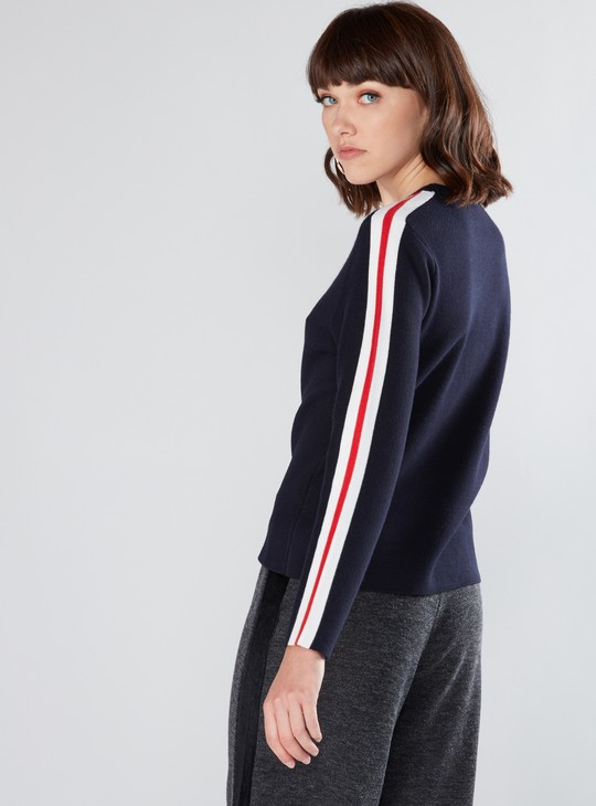 Textured Sweat Top with Long Sleeves and Tape Detail