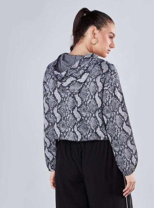 Animal Printed Sweatshirt with Long Sleeves and Hood