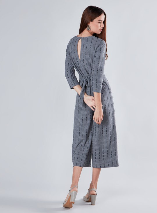 Textured Jumpsuit with 3/4 Sleeves and Tie Ups