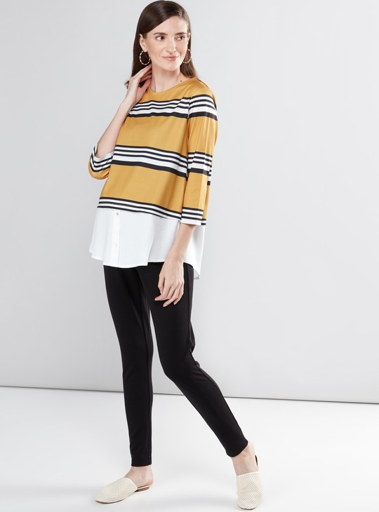 Maternity Striped Top with Round Neck and 3/4 Sleeves