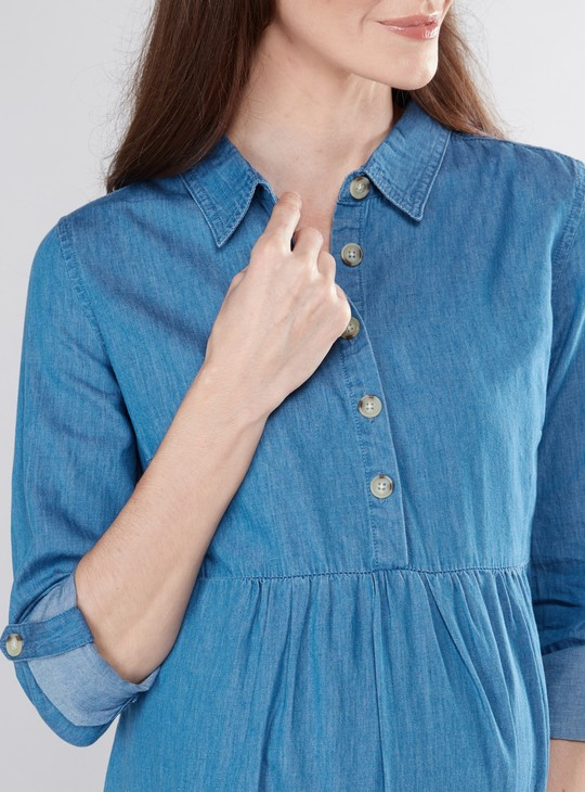 Maternity Denim Dress with Long Sleeves  and Tie Ups