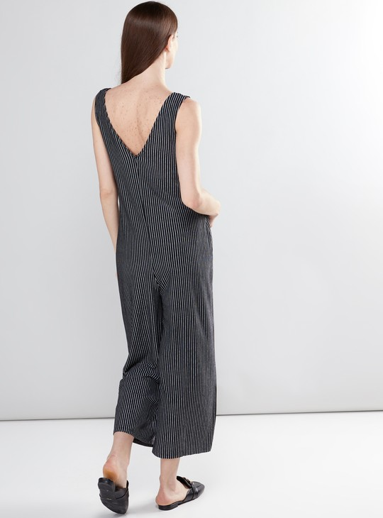 Maternity Striped Sleeveless Jumpsuit with V-Neck