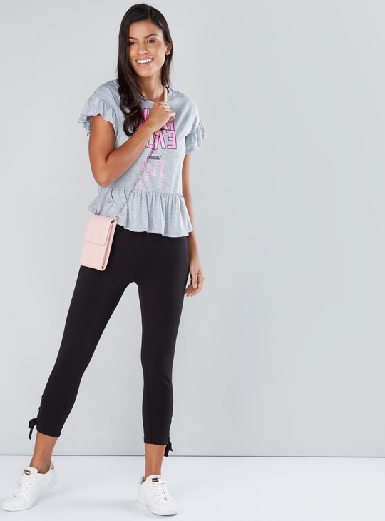Tie Up Detail Cropped Pants with Elasticised Waistband