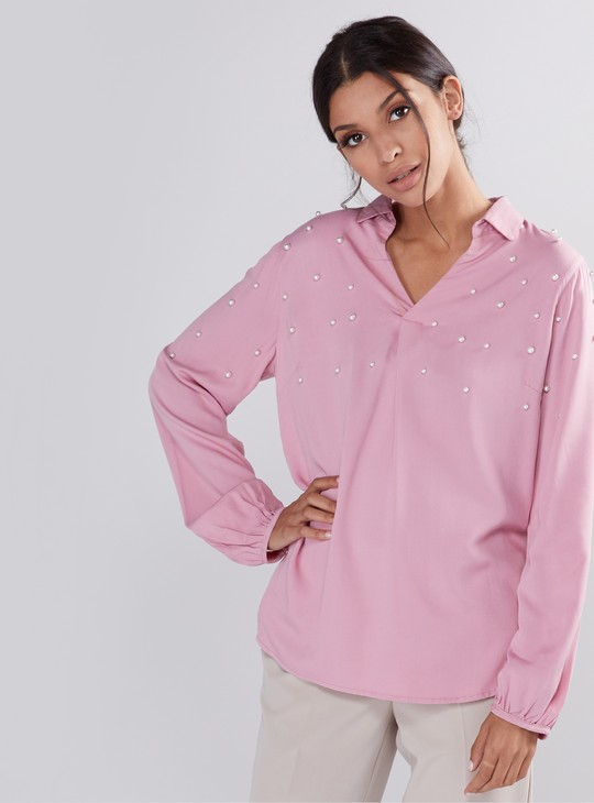 Pearl Detail Top with Long Sleeves