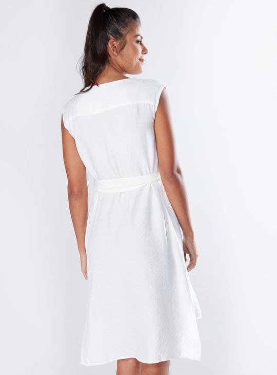 Asymmetric Hem Sleeveless Midi Dress with Pocket Detail