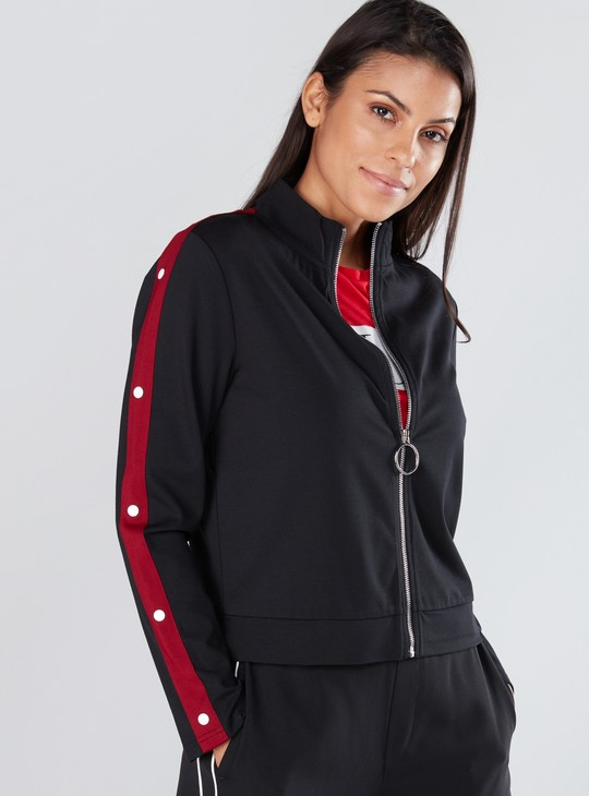 High Neck Jacket with Long Sleeves and Zip Closure
