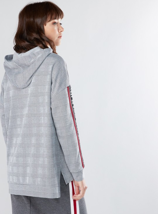 Chequered Sweatshirt with Tape Detail and Hood