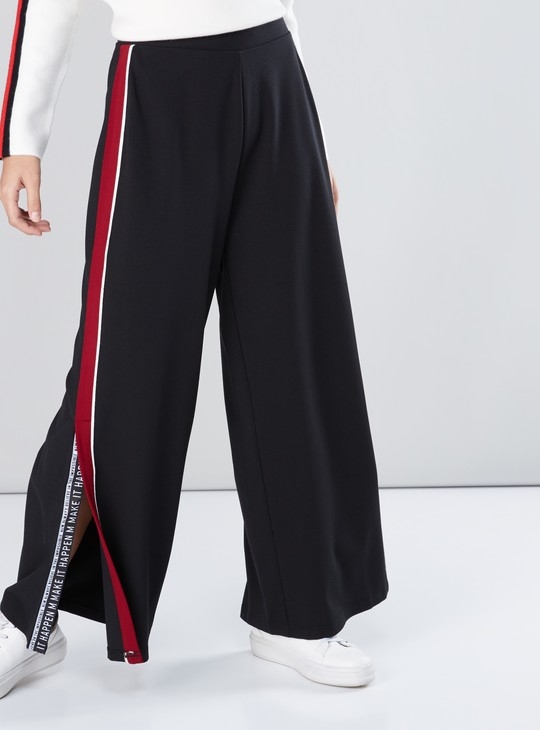 Tape Detail Palazzo Pants with Elasticised Waistband