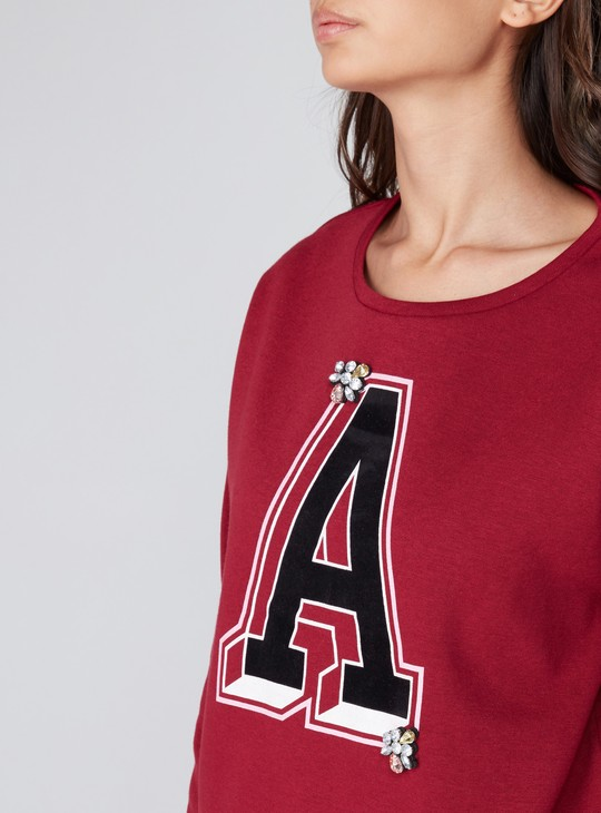 Printed Sweatshirt with Long Sleeves and Embellishment
