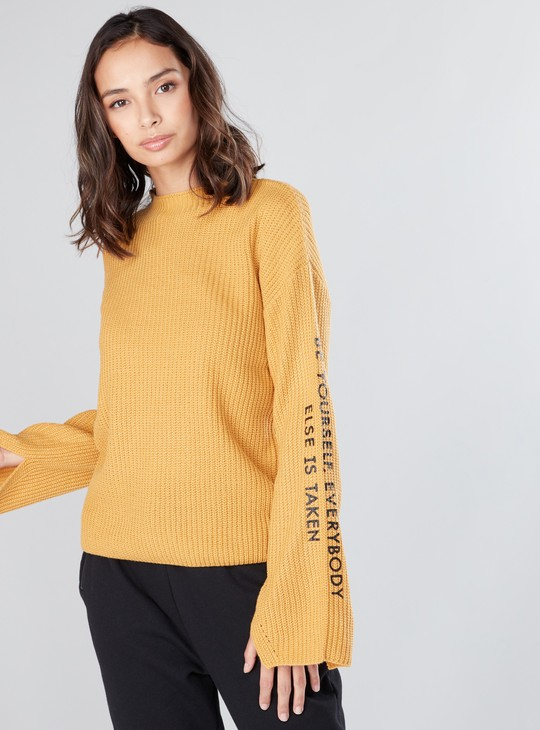 Textured Sweater with Round Neck and Printed Long Flared Sleeves