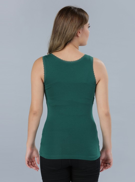 Round Neck Sleeveless Vest with Lace Detail