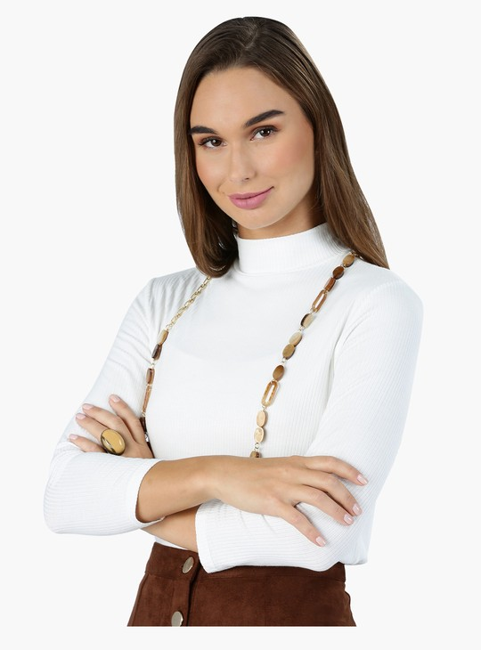 Turtle Neck T-Shirt with 3/4 Sleeves