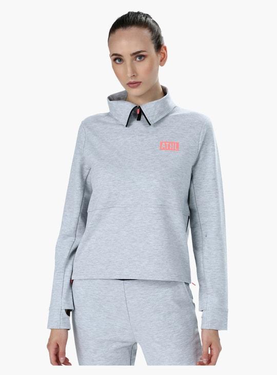 High Collar Melange Sweatshirt with Long Sleeves and Side Zips