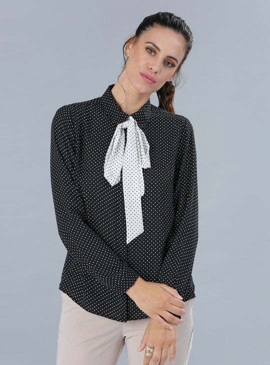 Printed Shirt with Tie Detail