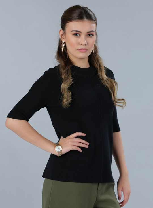 High Neck Top with 3/4 Sleeves