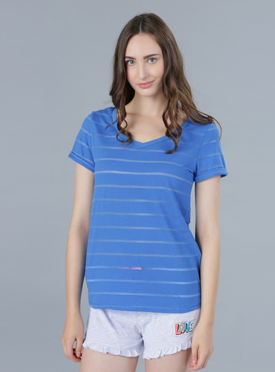 Striped Print Top with V Neck and Short Sleeves
