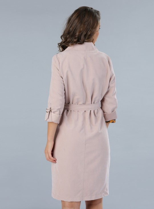 Notch Collar Jacket with Roll Up Sleeves and Tie Up