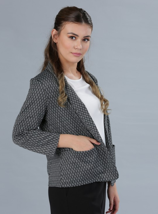 Textured Blazer with Open Front