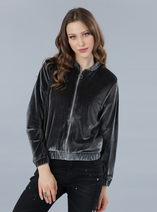 Bomber Jacket with Zip Closure and Long Sleeves