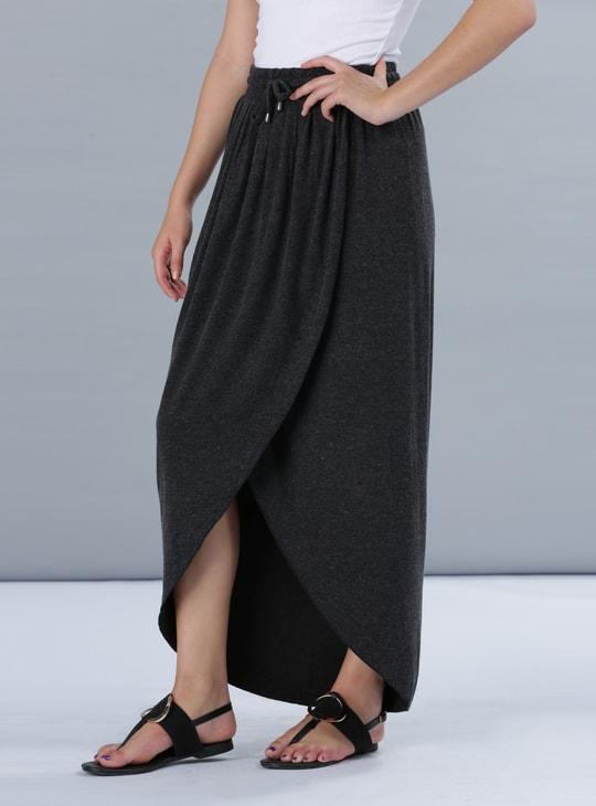 Pleated Overlap Panel Maxi Skirt