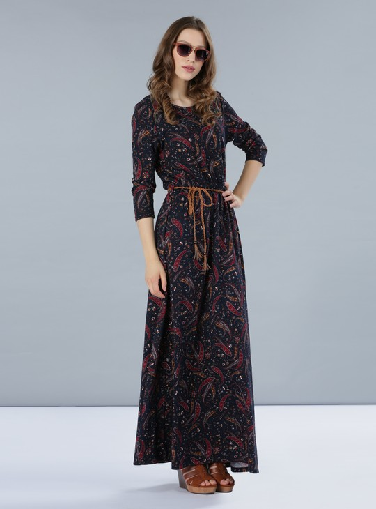 Printed Round Neck Maxi Dress with 3/4 Sleeves
