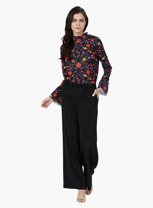 Floral Print Top with Long Sleeves