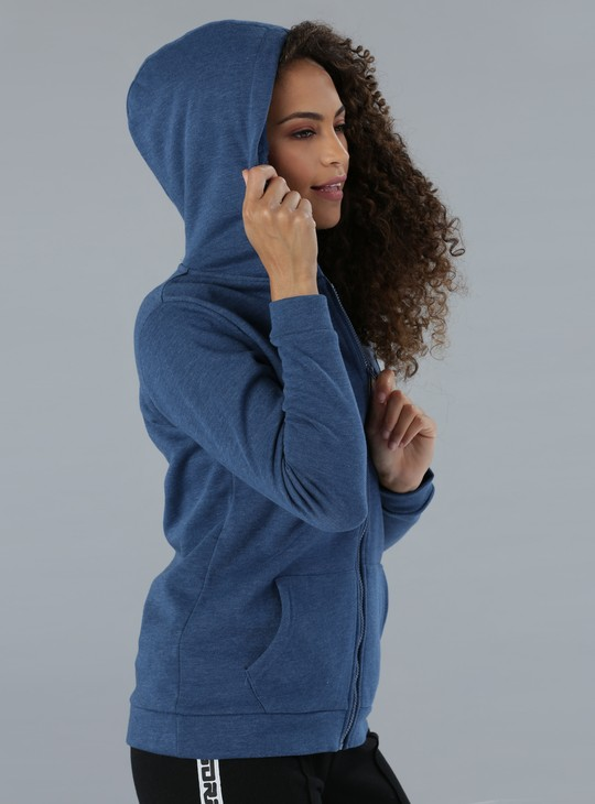 Embroidered Long Sleeves Jacket with Zip Closure and Hood