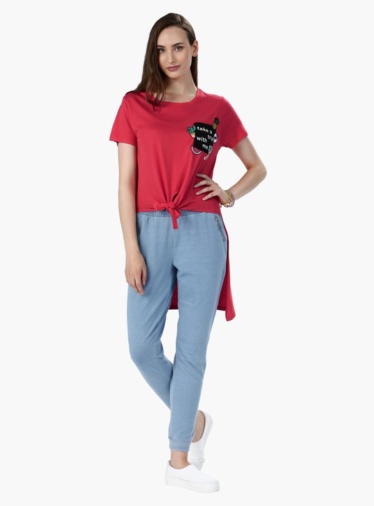 Embroidered Front Knot T-Shirt with Low Back Hem