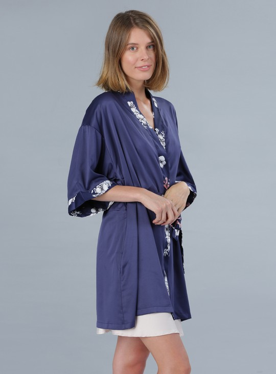 Printed V-Neck Robe