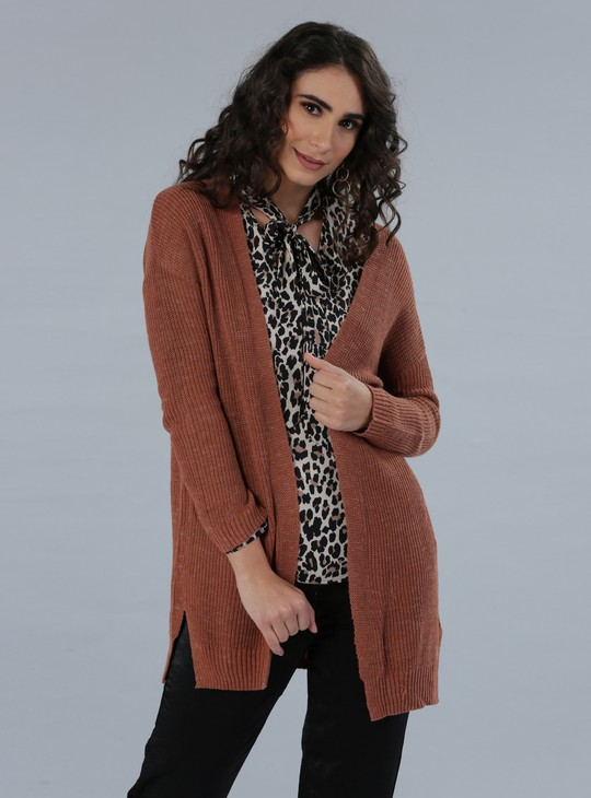 Textured Long Sleeves Shrug with Open Front