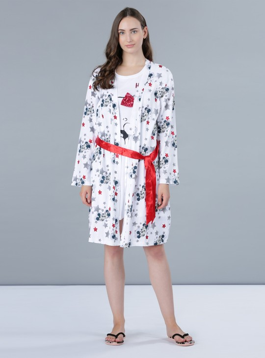 Mickey Mouse Print Long Sleeves Robe with Tie Ups