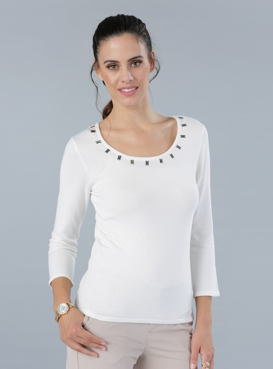Embellished Top with Long Sleeves