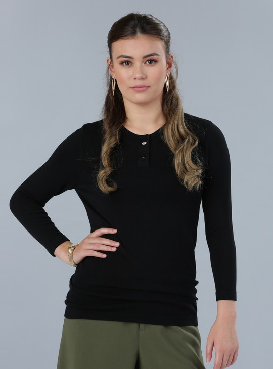 Henley Neck Top with Long Sleeves