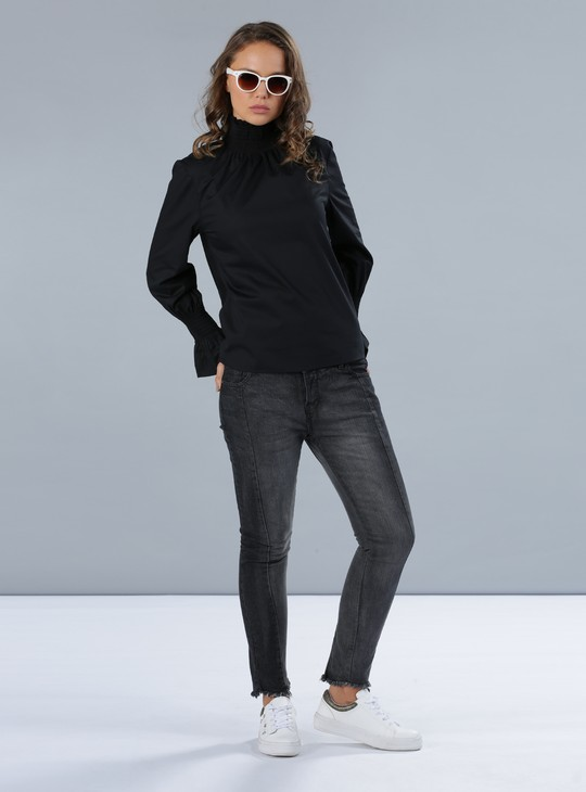 High Neck Top with Long Sleeves