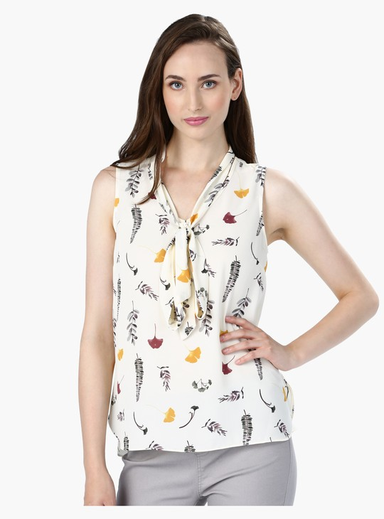 Printed Sleeveless Top with Tip Up Neck